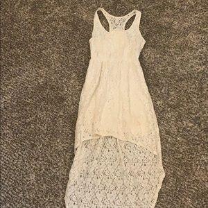 White lace high-low tank dress